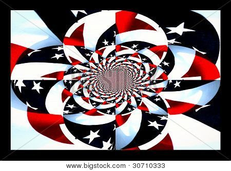 abstract design of American Flag Kaleldoscope effect