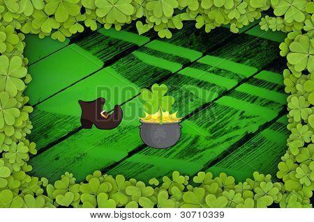 Art-Illustration green backround with shamrocks