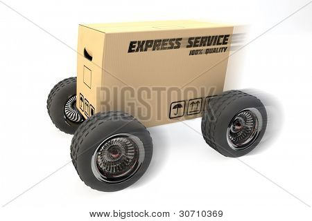 3D box with express delivery on wheels