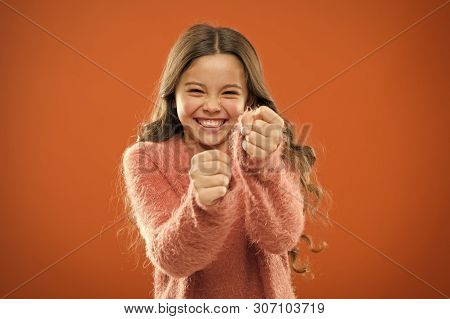 Self Defense Strategies Kids Can Use Against Bullies. Girl Hold Fists Ready Attack Or Defend. Girl C