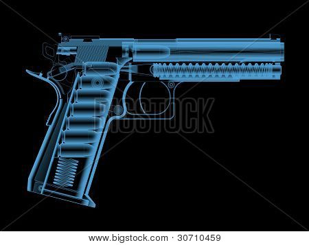 X-ray of a pistol with bullets.