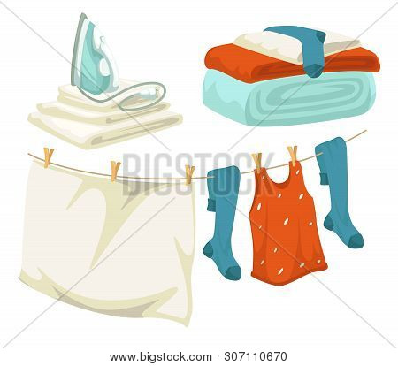 Clean Laundry Iron And Drying Line With Pins Linen And Clothes