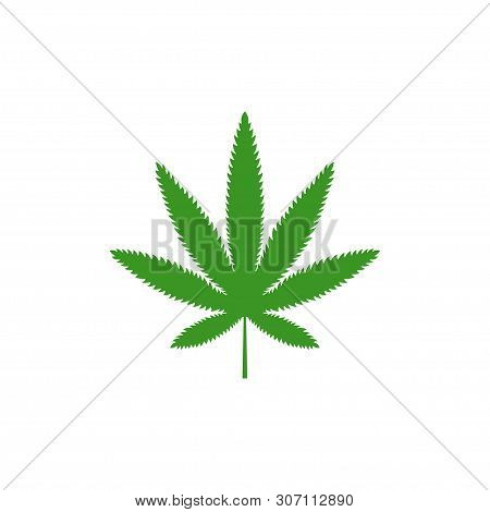 Cannabis leaf logo design vector isolated white background, cannabis leaf icon. Outline leaf of cannabis, flat black and green leaf. Marijuana sign. Marijuana logo, line style. Template for medical cannabis or cannabis oil. Vector illustration