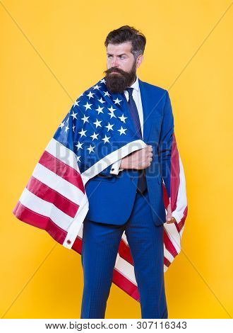 Independence means decide according to law and facts. Businessman bearded man in formal suit hold flag USA. Businessman concept. Successful businessman lawyer or politician. Business people. poster