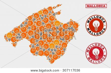 Energy Lamp Mosaic Mallorca Map And Grunge Rounded Stamp Seals. Mosaic Vector Mallorca Map Is Create