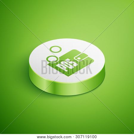 Isometric Proof Of Stake Icon Isolated On Green Background. Cryptocurrency Economy And Finance Colle