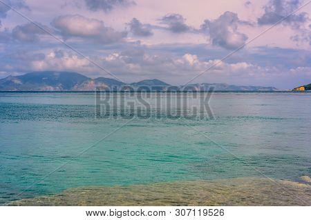 Wide Angle Shot Of The Rocky Shore Of Keri Beach In Summer On Zante Island, Greece