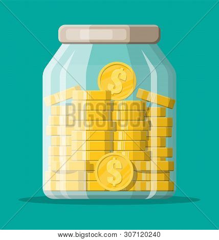 Glass Money Jar Full Of Gold Coins. Saving Dollar Coin In Moneybox. Growth, Income, Savings, Investm