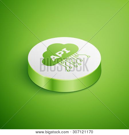 Isometric Cloud Api Interface Icon Isolated On Green Background. Application Programming Interface A