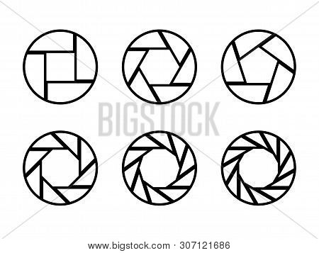 Set Of Black Camera Lens Aperture Icons Isolated On Light Background. Camera Objective Icon. Shutter