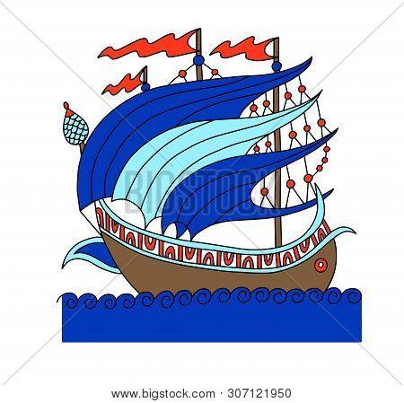 Turkish Ship Decorative Drawing In Old Fashion Style, Roman Galleon