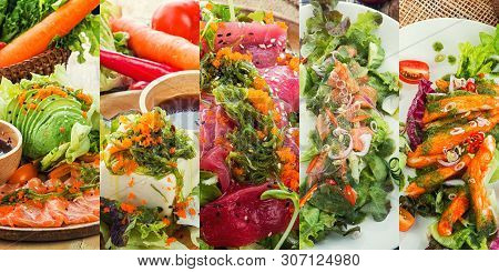 Asian Salad With Tofu And Fresh Vegetables Mixed Sliced Fish Sashimi, Thin Sliced Raw Meat Salmon ,