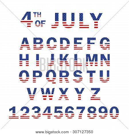 Usa Flag Alphabet And Numbers. 4th Of July Usa Flag Style Font Design. Usa Flag Font Template. Font