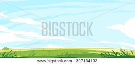 Big Panorama Of Green Lawn, Summer Sunny Glades With Field Grasses And Blue Sky, Travel Landscape Il