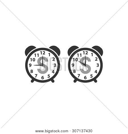 Dial Clock Traditional Style With Digit Face, Alarm Bells And Dollar Sign. Retro Watch Black Vector