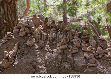 Pyramid Consisting Of Stones Made By Tourists To The Samaria Gorge In Crete, Greece. A Good Traditio