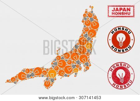 Energy Lamp Mosaic Honshu Island Map And Rubber Round Watermarks. Mosaic Vector Honshu Island Map Is
