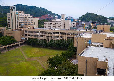 Keelung, Taiwan - September 7, 2018: National Taiwan Ocean University, Educational Buildings Are Aro
