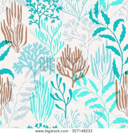 Coral Polyps Seamless Pattern. Kelp Laminaria Seaweed Algae Background. Australian Staghorn And Pill