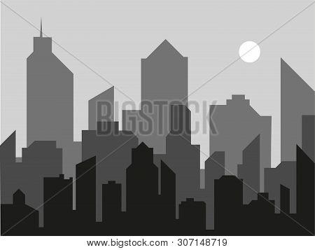 Modern City Landscape Vector Background. City Skyline Vector Illustration. Gorizontal Urban Landscap