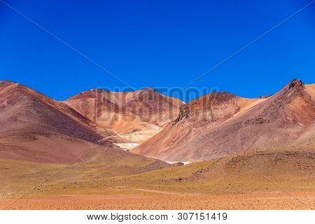 The Salvador Dali Desert Also Known As Dali Valley, In The Eduardo Avaroa Park In Bolivia, Andes In