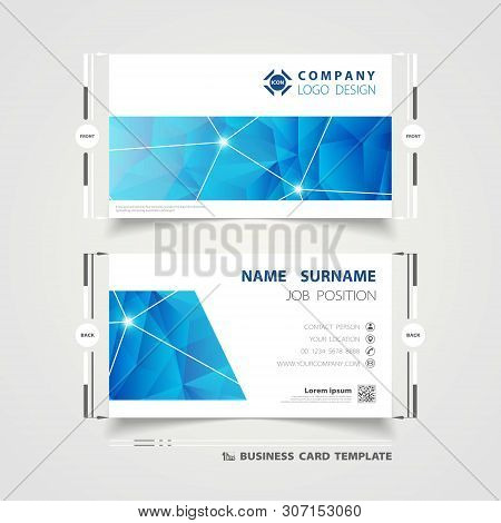 Abstract Corporate Blue Technology Name Card Template Design For Business. Illustration Vector Eps10
