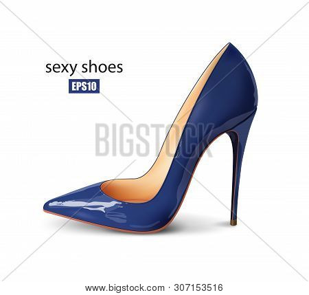 Beautiful Female Blue Pump On A White Background, Sexy Shoes, Classic. High-heeled Shoes, Patent Lea