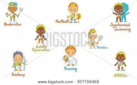 Sport Kids In Cartoon Style, Scetch Texhnique