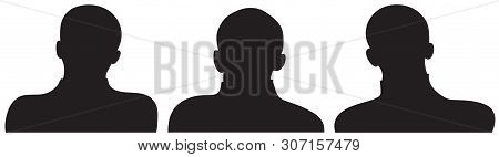 Employee Business Team As A Silhoutte In Black Color. Set Of Three Different Businessmen Heads And S