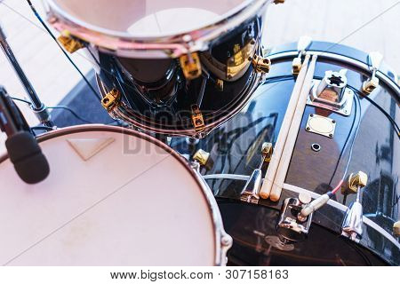 Details Of The Drum Set On The Scene Close-up. Musical Instruments And Musical Performance. Drums.