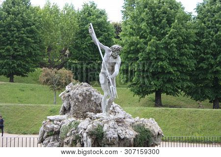 Florence: May 1, 2019 - Neptune Fountain In The Center Of The Boboli Gardens. The Sculptor, Stoldo L