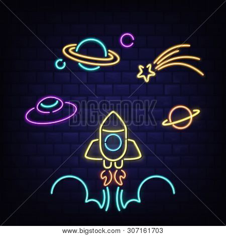 Neon Space Icons Set, Rocket, Ufo, Saturn Planet And Comet Signs, Rocketship With Flame, Glowing Flu
