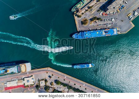 Aerial Drone Panoramic Photo Of Piraeus And The Famous Port In Daylight, Attica, Greece.