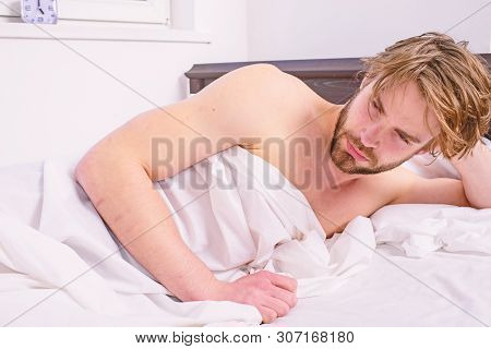 Man Sleepy Drowsy Unshaven Bearded Face Covered Blanket Having Nap. Man Unshaven Handsome Relaxing B