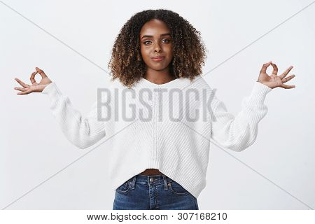 Stay Calm Carry On. Charming Peaceful Confident African-american Woman Meditating Exercise Yoga, Bre