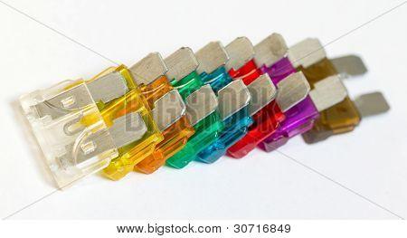 A Row Of Car Fuses