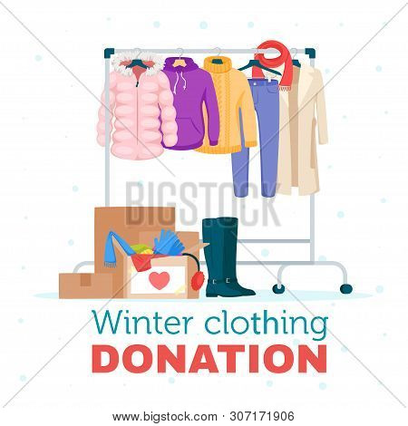 Winter Warm Clothing Donation Flat Vector Illustration. Cheap And Free Seasonal Garment. Second Hand