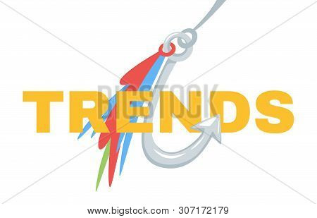 Trends Typography On Fishhook Web Banner Template. Future Tendency Chasing, Forecasting Flat Vector