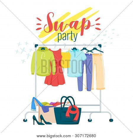 Swap Party Preparation Flat Vector Poster Template. Garment, Clothes Exchanging. Fashionable, Stylis