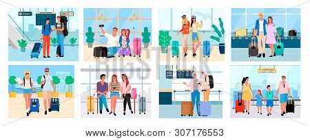poster of Traveling people, senior man and woman, couple with baggage, friends on voyage airport halls and travelers walking granny and granddad set. Tourists going travel on summer acation, journey or trip
