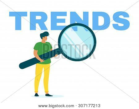 Marketer Researching Internet Trends Flat Web Banner Template. Popular Content Searching. Smm, Seo,
