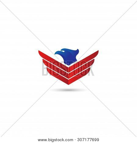 abstract eagle wings logo. Eagle icon, Eagle logo, Eagle icon isolated black on white background, Eagle Icon Picture, Eagle Icon Vector, Eagle Falcon, Head Eagle Design, Eagle Falcon Vector Logo Template, vector animal template with blue and red color.