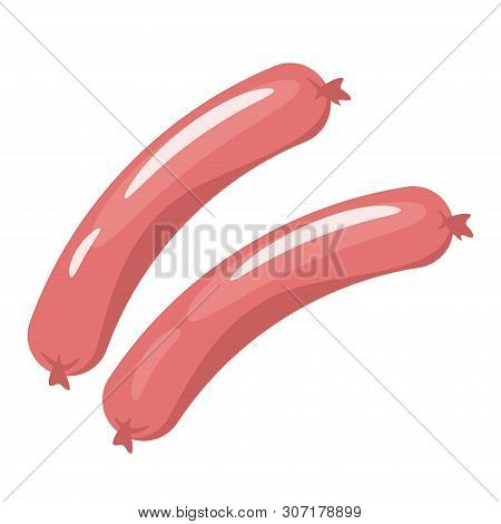 Raw Sausages Flat Vector Illustration. Tasty Breakfast Meal Ingredient Isolated Clipart. Fresh Pork,