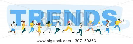 Internet Trends Pursuit Flat Vector Web Banner Template. Future Tendency Hunting. Marketers Team Par