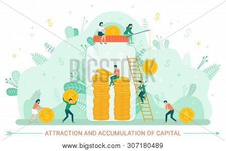 Attraction And Accumulation Of Capital Vector, People Dealing Financial Assets And Investment In Fut