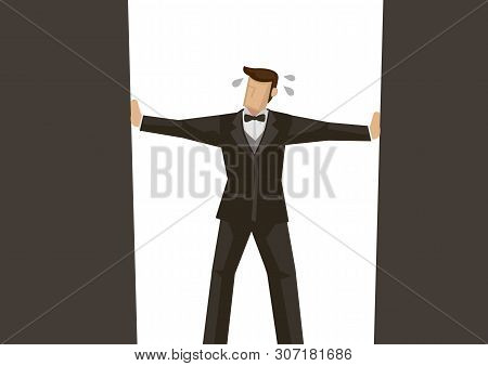 Metaphor Of Businessman In The Corner Of The Frame. Concept Of Crisis, Disaster, Bankruptcy Or Sabot