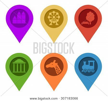Map Pin. Set Of Bright Map Pointers On White Background. Raster Illustration. Gps Symbol Marker Sign