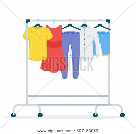 Clothes Hanging On Rack Flat Vector Illustration. Fashion Boutique, Showroom Assortment Isolated Cli