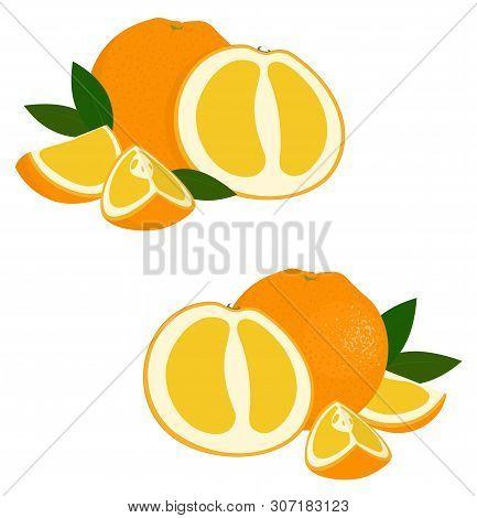 Orange Fruit. Set Of Fresh Whole And Cut Orange Fruit And Slices On White Background. Citrus Fruit.