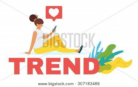 Vlogger Researching Internet Trends Flat Vector Web Banner Template. Female Analyst Forecasting Mark